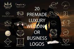 20 PREMADE FEMININE, LUXURY AND ELEGANT WEDDING OR BUSINESS LOGOS from DesignBundles.net