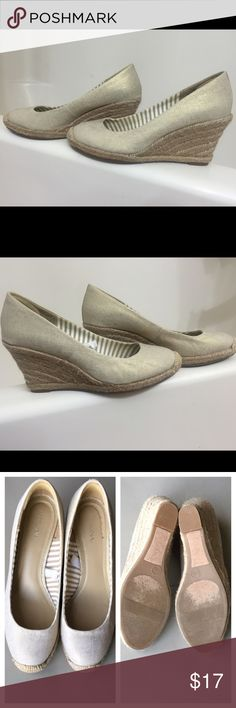 Cream wedges ALSO AVAILABLE IN RED. Almost brand new condition. Hardly worn, 3-4 times. They have a very cute gold sparkle affect. I would say they run a bit big because im usually a 7 and these are 6.5. Feel free to ask any questions before purchasing. Merona Shoes Wedges