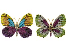 Off Park (R) Collection Multicolor Crystal Gold Tone Butterfly Brooch Set Of 2