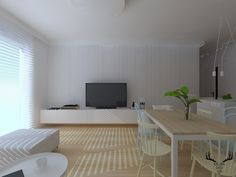 Salon w minimalistycznym stylu, minimalizm, vescom, tapeta, biel i drewno w salonie, Office Desk, Corner Desk, Furniture, Design, Home Decor, Living Room, Corner Table, Desk Office, Decoration Home