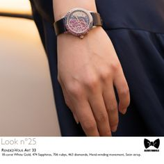 Seen at #JLCandAlexisMabille fashion show: the Grande #RendezVous Art 33 #watch. Technical details: 18-carat White Gold, 474 Sapphires, 706 rubys, 463 diamonds, Hand-winding movement, Satin strap. Reference:3453402