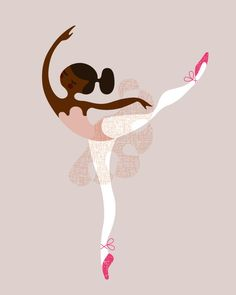 ballerina tying slippers giclée print. 8X10. gray/lavender/magenta. african american.. $18.00, via Etsy.