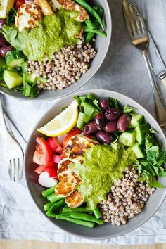 Mediterranean Halloumi Buckwheat Nourish Bowls | Nourish Everyday
