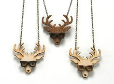 Nerd Deer Necklace Handmade laser cut laser by UnpossibleCuts, $19.95