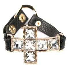 """Heirloom Finds Black Leather Sideways Cross Bracelet with Giant Square Crystals Heirloom Finds. $21.99. Cross measures 1.75"""" by 1.4"""". Arrives gift boxed!. Makes a great gift!. Large Clear Glass Crystals measure .40"""" across each. Bracelet adjusts from 7"""" to 7.5"""""""