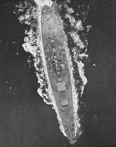 Aerial view of USS North Carolina off the US east coast 17 April 1942.