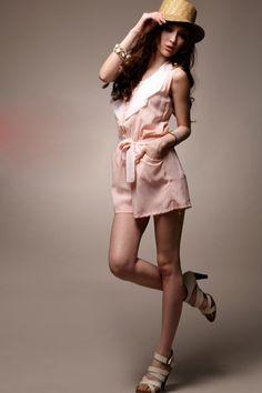 Beautiful Lotus Leaf Collar Loose Jumpsuit Pink