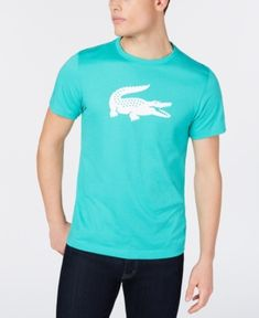 623f6d1c9 Lacoste Men s Oversized Crocodile Logo Graphic Technical Jersey Tennis T- Shirt - Green 2XL Crocodile