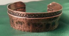 Hey, I found this really awesome Etsy listing at https://www.etsy.com/listing/179649564/hammered-copper-bracelet-with-patina