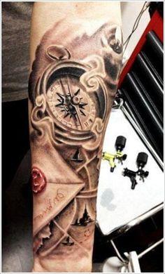 33 Tatouages avec des chiffres romain - 14 https://tattoo.egrafla.fr/2016/01/14/modele-tatouage-boussole-rose-des-vents/