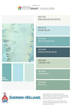Garage Paint Colors, Interior Paint Colors For Living Room, Green Paint Colors, Paint Colors For Home, Bedroom Colors, Beach House Colors, Peaceful Bedroom, Color Schemes, Colour Combinations