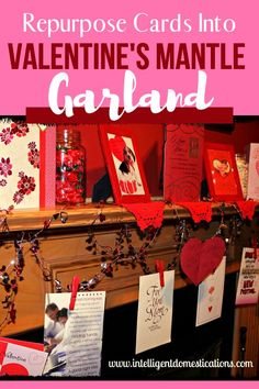 Make your own Valentines mantle garland by repurposing old Valentine cards. See how I make mine very simply. Valentines Day Party, Valentine Cards, Vintage Valentines, Mantle Garland, Conversation Hearts Candy, Diy Monogram, Valentine's Cards For Kids, Dollar Store Crafts, Jar Gifts