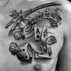 40 Poker Chip Tattoo Designs For Men – Masculine Ink Ideas – Man Style Playing Card Tattoos, Playing Cards, Design Tattoo, Tattoo Designs Men, Roulette Tattoo, Theme Tattoo, Chip Tattoo, Poster Shop, Gambling Machines