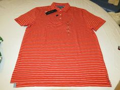 Men's Tommy Hilfiger Polo shirt striped 7875525 Molten Lava 966 XL Classic Fit #TommyHilfiger #polo