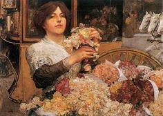 The Rose Girl: 1888 by Childe Hassam (Private Collection - sold at auction as per Artnet.com) - Impressionism