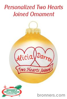 Personalized Two Hearts Joined Ornament from Bronner's Christmas store of Christmas ornaments and Christmas lights Christmas Wonderland, Two Hearts, Personalized Ornaments, Red Paint, Paint Pens, Glass Ornaments, Relationship Goals, Christmas Bulbs, How To Apply