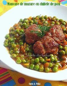 Mancare de mazare cu chiftele de post Pork Recipes, Cooking Recipes, Healthy Recipes, Healthy Food, Jacque Pepin, Romanian Food, Romanian Recipes, Tasty, Yummy Food