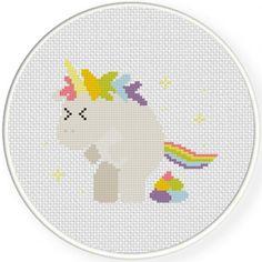 Pooping Unicorn Cross Stitch Illustration