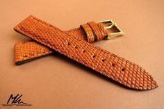 Light brown varan watch strap. Custom made for small watch. www.mkleathers.pl