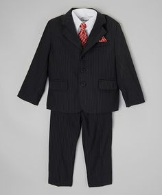 Another great find on #zulily! Charcoal & White Pinstripe Five-Piece Suit by ClassyKidzShop #zulilyfinds