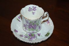 Hammersley Vintage Victorian Violets Embossed Bone China Cup Saucer Set