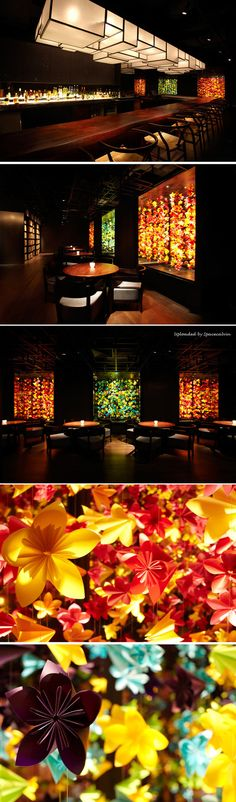 Kaiseki Yoshiyuki, Singapore by Asylum_Cutout windows reveal a glimpse of subtle color by the origami flower displays in the adjacent Horse's Mouth restaurant.