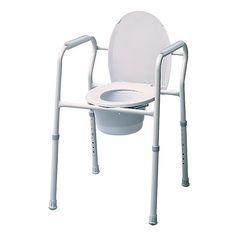 SILLA GRIS CON INODORO 3 EN 1 - REF: T2017: Es una silla cómoda y robusta. Fabricada en metal dispone de un retrete de plástico con tapa.