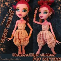 Genie Onesie for Monster High dolls - PDF PATTERN #MonsterHigh #crochet…