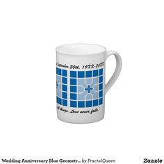 Wedding Anniversary Blue Geometric With Name Tea Cup #sold