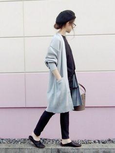 もったりした袖が可愛いドルマンカーデ♡ これはコットン素材なんで、軽めに着れます。同型のウール素材