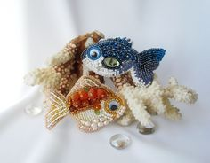 "''Goldfish & Blue fish"" - brooches"