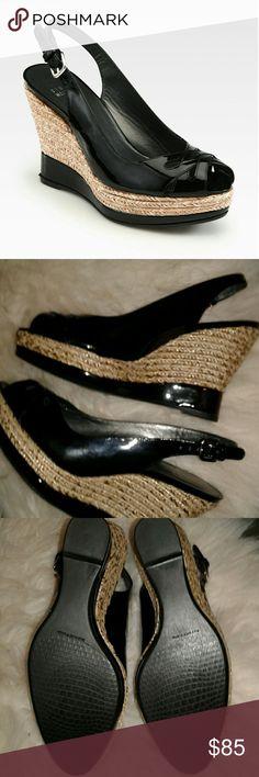 💥SALE💥 Stuart Weitzman Dolunch patent wedge 8.5 Never worn patent peep toe wedge with jute metalic wedge. Stuart Weitzman Shoes