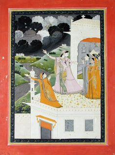 While the Clouds Gather - Kangra Miniature Painting  ca. 1825 This painting portrays an ideal romantic type of heroine (nayika), who is anxi...