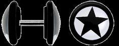 Acryl Ohrpiercing Schmuck Fake Plug, Stern schwarz + 1,2 mm Stab