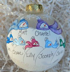 personalized Hand-painted glass snowman ornament family of 7 by glassygirl21