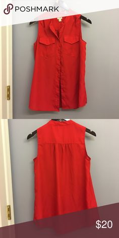 J.Crew Factory red button up blouse This is a perfect business casual shirt. Very flattering and comfortable! Only worn a couple of times and am selling because it no longer fits. J.Crew Factory Tops Button Down Shirts