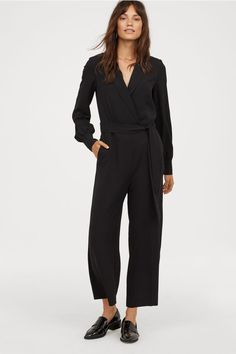 Jumpsuit in woven, crêped fabric with notched lapels. Attached wrapover at top with concealed snap fastener. Shoulder pads, long sleeves with concealed snap Tailored Jumpsuit, Black Jumpsuit, Corsage, Casual Chic, Casual Outfits, Fashion Outfits, Womens Fashion, Affordable Work Clothes, Cheap Boutique Clothing