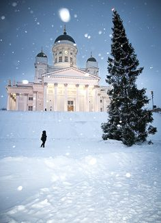 Snowing on Helsinki cathedral, Finland