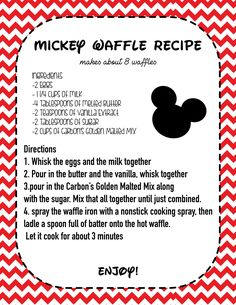 Want to make Mickey Waffles that taste just like the ones from Disney World or Disneyland? Then get the recipie here! Step by step instuctions! Disney Desserts, Disney Dishes, Disney Snacks, Disney Recipes, Disney Themed Food, Disney Inspired Food, Waffle Recipes, Pancake Recipes, Crepe Recipes