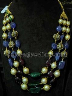 Jewellery Designs: Blue Sapphires Beads Necklace