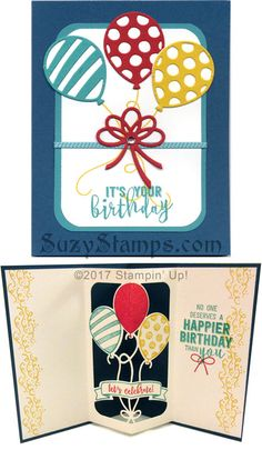 Stampin' Up! Cards - 2017-02 Class - Balloon Adventures stamp set and Balloon Pop-Up Thinlits Dies