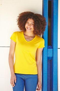 T-Shirt mit V-Ausschnitt aus 100% Baumwolle/Lycra® Ripp, Belcoro® Garn(Heather Grey: 97% Baumwolle / 3% Polyester, Ash: 99% Baumwolle / 1% Polyester)Grammatur: 160 g/m², 165 g/m²Hersteller: Fruit of the LoomGestaltungsmöglichkeiten: bedruckbar und bestickbar