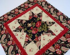 Winter Star Quilted Table Topper, Christmas Table Runner Floral Paisley, Winter Christmas Decor, Star Table Topper, Black Red Green Topper