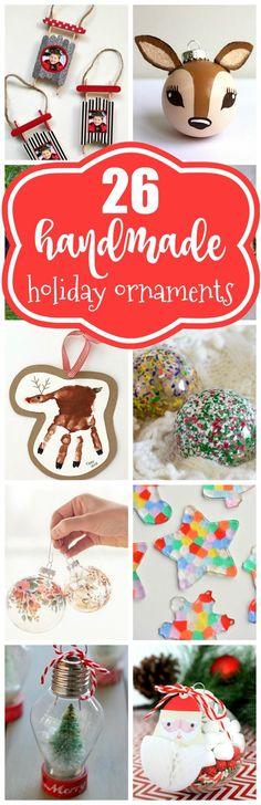 26 Awesome Handmade Holiday Ornament Ideas on Pretty My Party #diyornaments #diychristmasornaments #diyholidayornaments