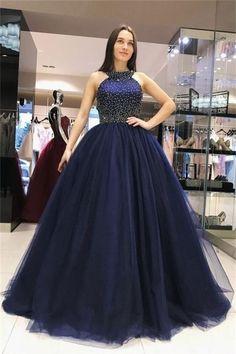 84f9c250e24 Ball Gown Long Navy Blue Beading Tulle Princess Prom Dresses Quinceanera  Dresses US  239.00 KKPBR1FY8Q