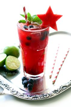 Watermelon blueberry mojito #july4th #independenceday