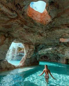 Beautiful natural cave pool in the Bahamas!😍⠀ 👉Double tap if you would swim here! Beautiful Places To Travel, Romantic Places, Cool Places To Visit, The Places Youll Go, Places To Go, Romantic Travel, Romantic Honeymoon, Peaceful Places, Vacation Places