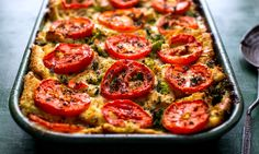 Savory Bread Pudding with Broccoli and Goat Cheese from the New York Times.  Use tomatoes when you can find good ones, this is still killer without!