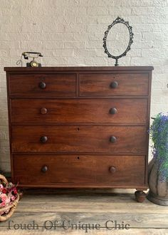 Antique Victorian Large Mahogany Chest of Drawers 2 Over 3  | eBay