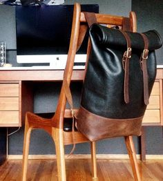 Rolltop Leather Backpack by Loper and Haas available at Withal now. The place to get inspired goods by local makers. Canvas Backpack, Backpack Bags, Leather Backpack, Leather Bag, Tote Bag, Fashion Bags, Fashion Accessories, Mens Fashion, Pallet Furniture Coffee Table